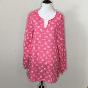 J. Jill Cotton Pink Animal Tunic -Size: Large